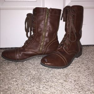 Dark brown combat boot